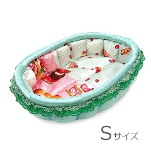 ふーじこちゃんママ手作り ぽんぽんベッド(サテンミント・幸せロールケーキ柄)Sサイズ【PB9-189S】