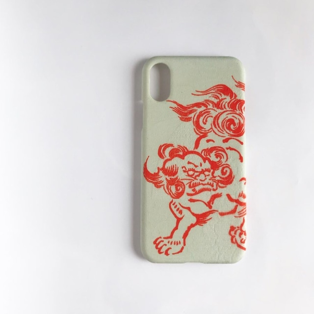 【KIMONO】鶯色に朱獅子 アンティーク着物のiPhoneケース