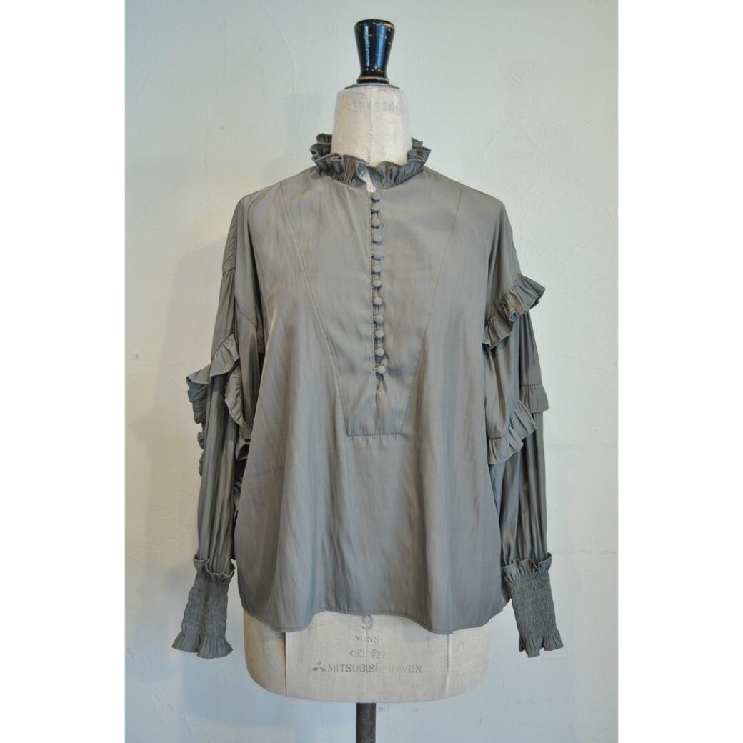 【RehersalL】 frill bijou blouse(gray) /【リハーズオール】フリルビジューブラウス(グレー)