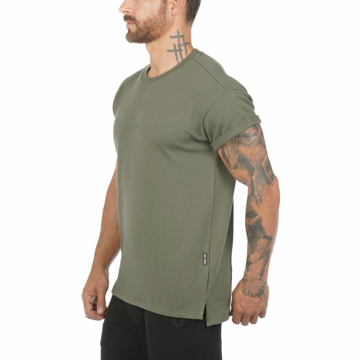 完売御礼【ASRV】CottonPlus™ メッシュバックロールスリーブTシャツ - Olive