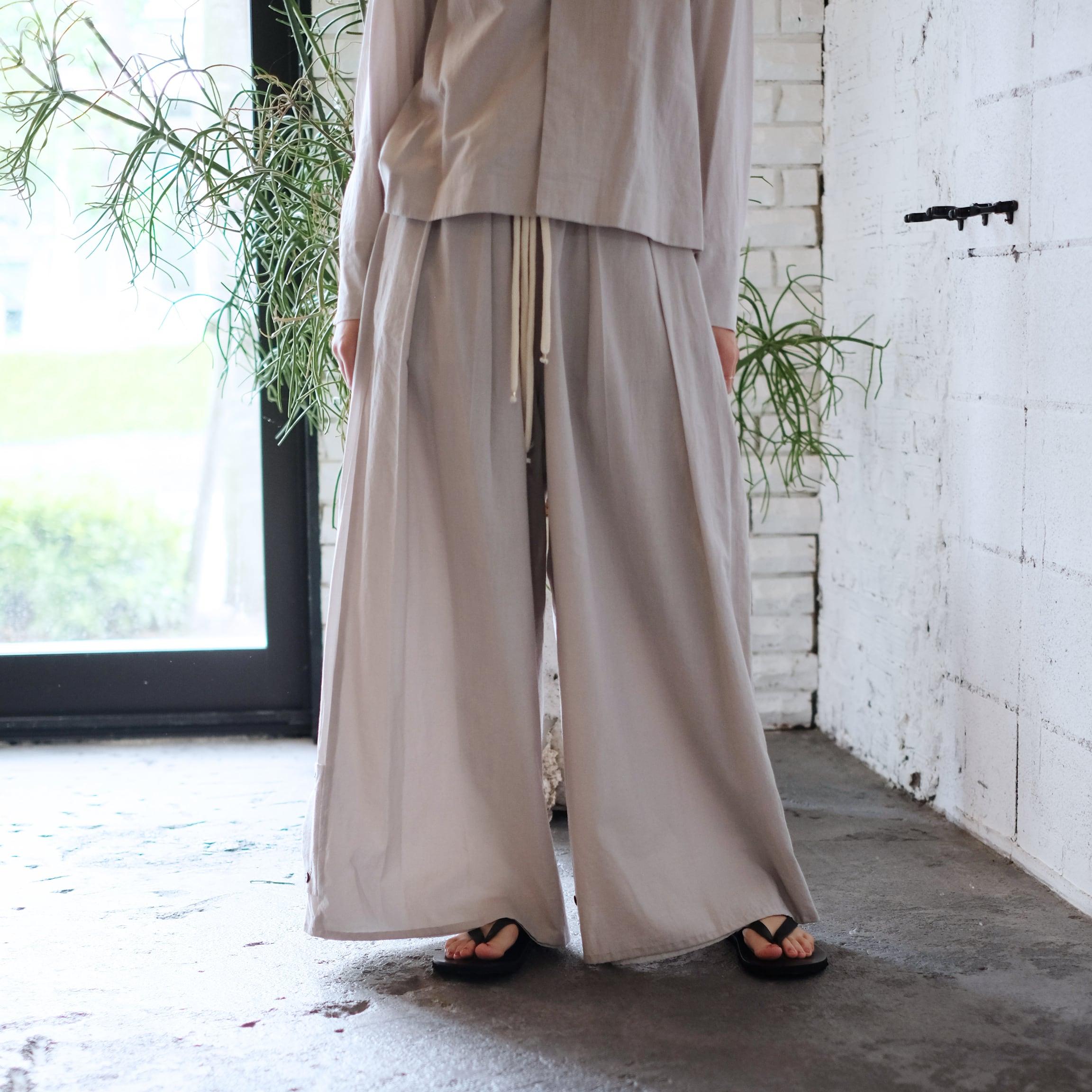 Reversible wide pants  [ Pale gray × Pale gray ]