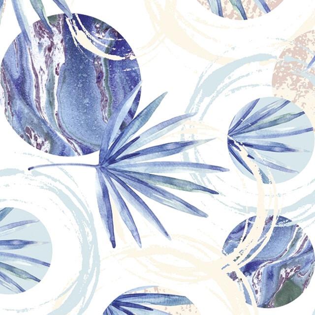 【Daisy】バラ売り2枚 ランチサイズ ペーパーナプキン Palm Leaves and Circles on Marble Texture ブルー