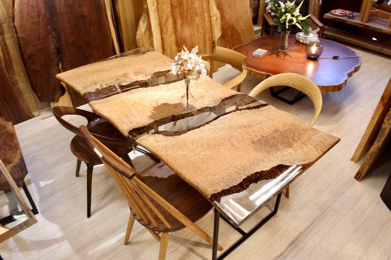 ≪青山店≫ アフリカンチェリー(ボセ) レジンテーブル 1800×850×35 20713