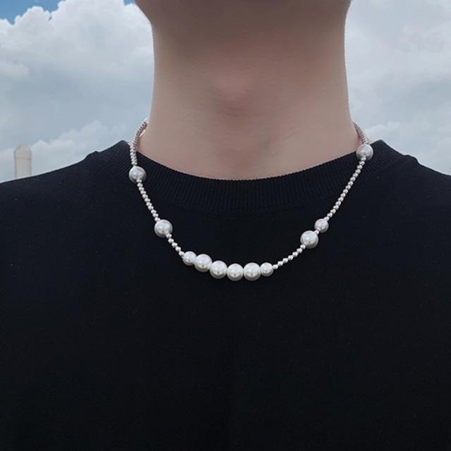 White pearl necklace   a-266