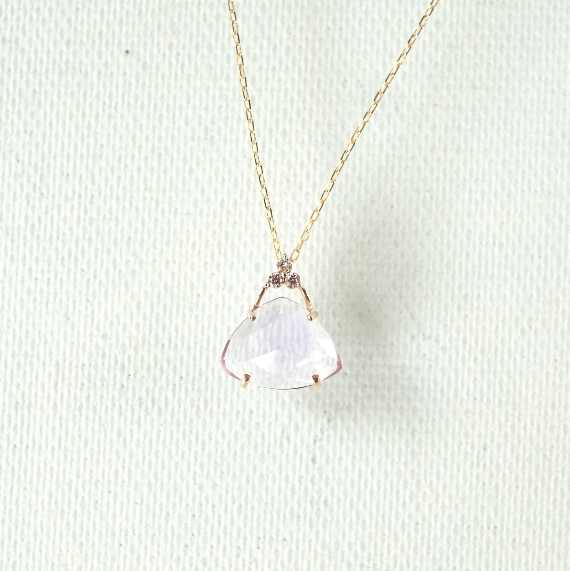 Tri-cut gem pendant Lavender quartz - K10YG