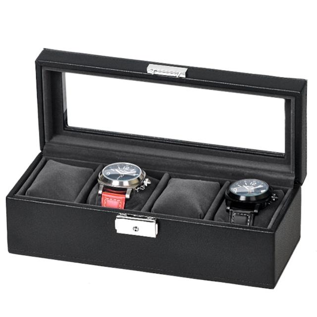 時計コクレションケース4本収納 ウォッチケース4本収納 合皮黒 SE-83520-BK