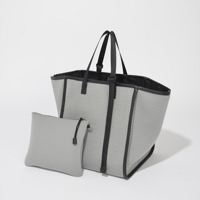【SOLPRESA】ボンディングパンチングトートバッグ+ポーチセット:グレー