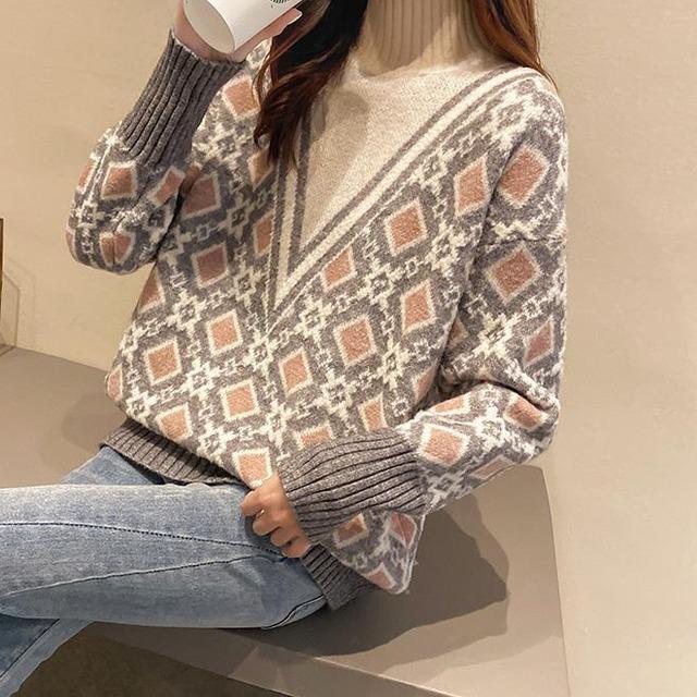V字型ハイネックセーター 3色 【TN0910】 大きいサイズあり