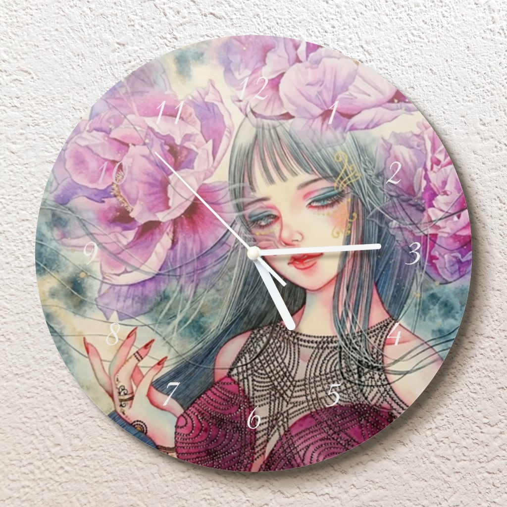 紫牡丹の姫君 壁掛け時計(L)