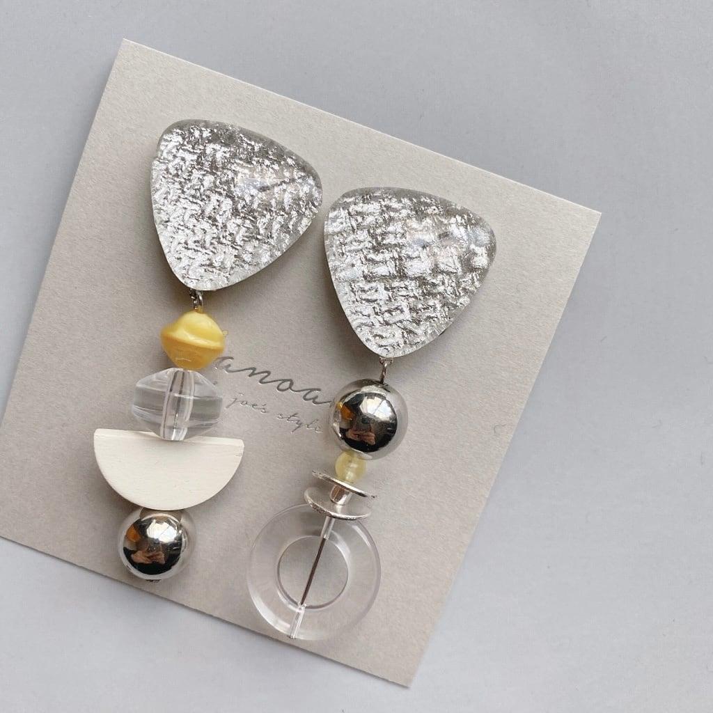 """ Earrings NO.danoan-127″ アシメシルバーファブリック"