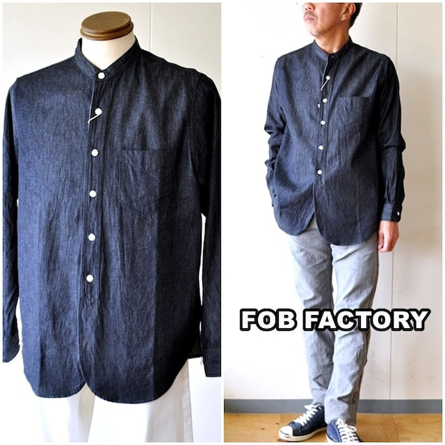 FOBFACTORY エフオービーファクトリー  バンドカラーシャツ 長袖シャツ   デニム インディゴ F3470