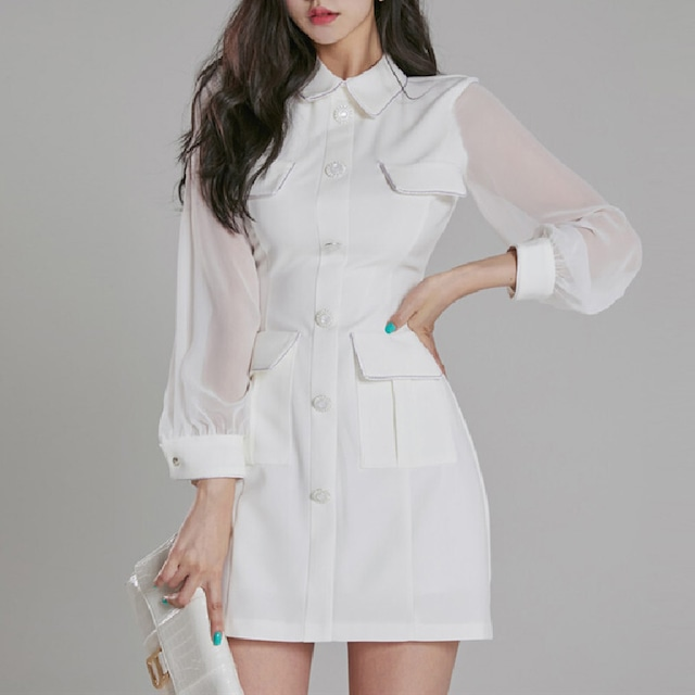 ワンピース OL シャツワンピース 白 長袖  シングルブレスト フェミニン ホワイト S M L XL