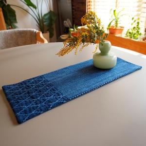 うしじま縫製   武州正藍染 テーブルランナー 長方形 二重刺子