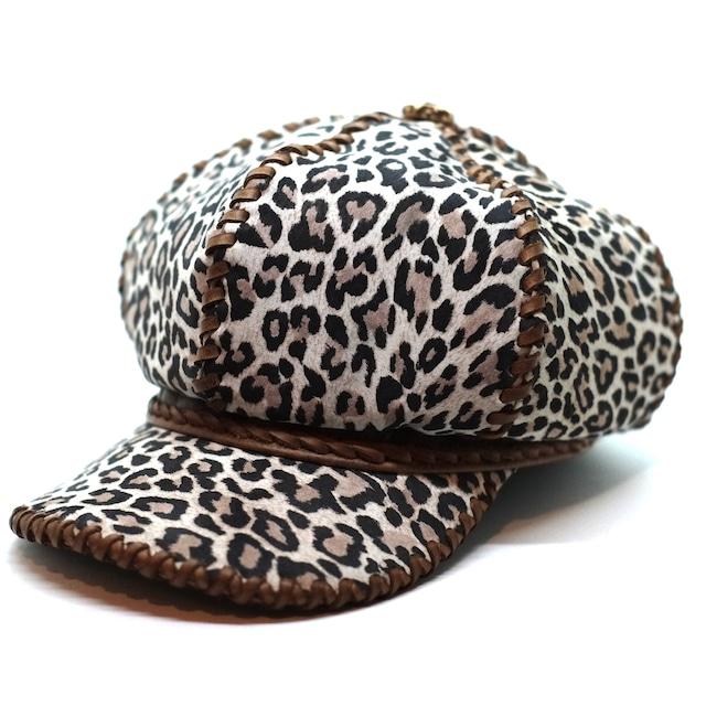 6ハギ・レザーキャスケット帽 レオパード&ブラウン