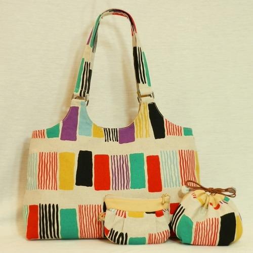 手づくりバッグ/短冊模様のバッグ (5-124)