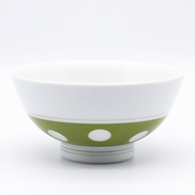 感器工房 吉田焼 副千窯 飯碗 水玉 グリーン 03965