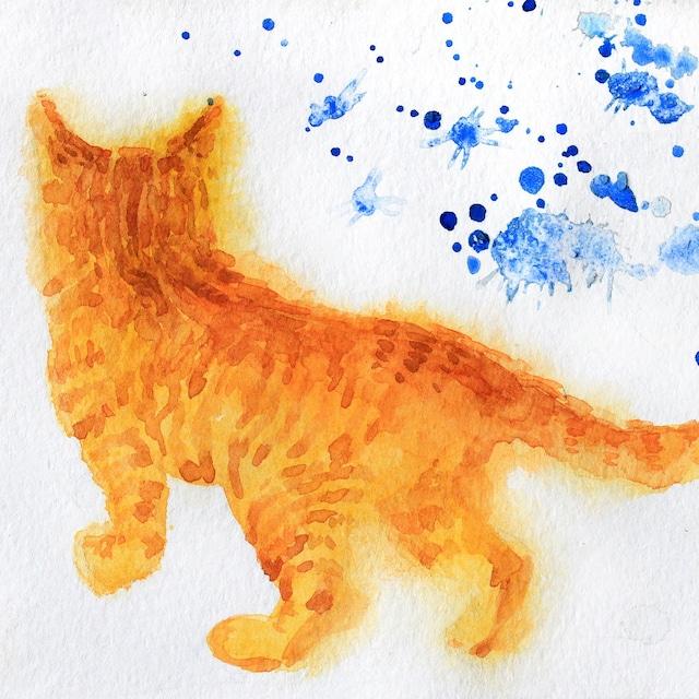 絵画 絵 ピクチャー 縁起画 モダン シェアハウス アートパネル アート art 14cm×14cm 一人暮らし 送料無料 インテリア 雑貨 壁掛け 置物 おしゃれ 油絵 水彩画 鉛筆画 猫 動物 ロココロ 画家 : Uliana ( ウリャーナ ) 作品 : u-1