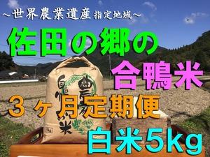 【令和3年新米】佐田の郷の米(3ヶ月定期便、白米5kg/玄米5.5kg×4回)【アイガモ米】