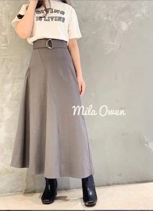 Mila Owen 切替えデザインベルト付サーキュラースカート
