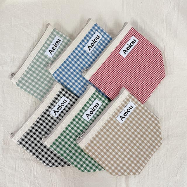 [Aeiou]チェック Basic pouch - M (全6色)