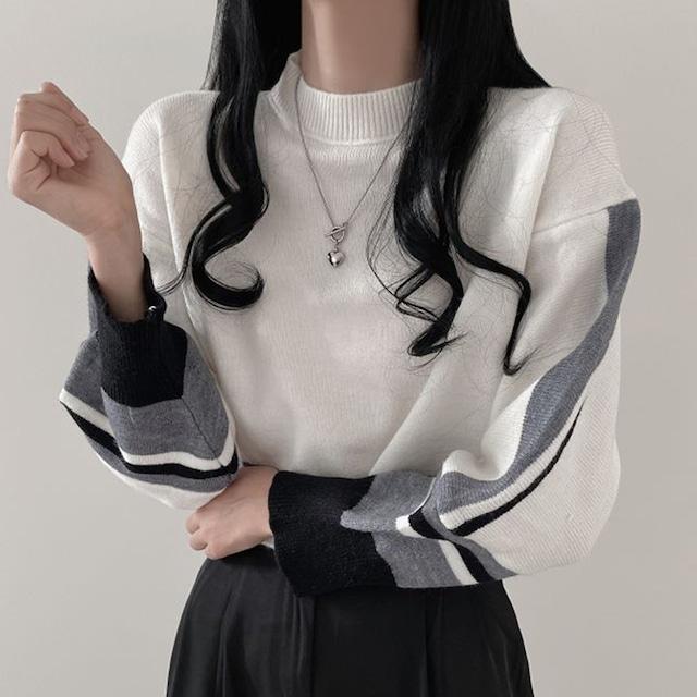 【トップス】着回し力抜群 3色 配色 ゆったり 切り替え ショート丈 セーター52903119