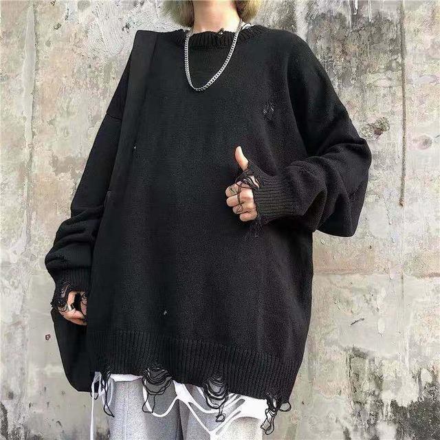 【トップス】透かし彫りダメージ加工ストリート系無地セーター43007510