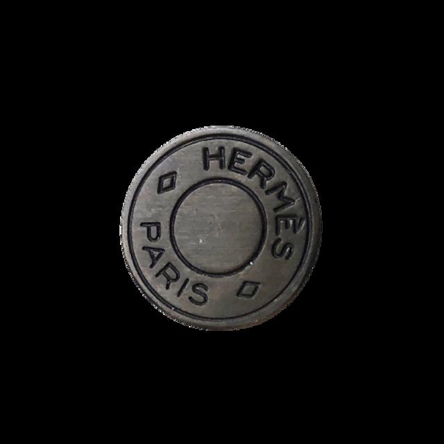 【VINTAGE HERMES BUTTON】セリエ ブラックメタル ボタン 1.2cm H-21001