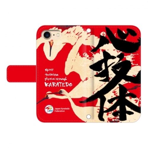 iPhone用:全日本空手道連盟認定 手帳型スマホケース K_空手道_鶴