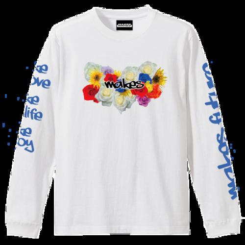MAKES長袖Tシャツ(FLOWER)5.6オンス ホワイト