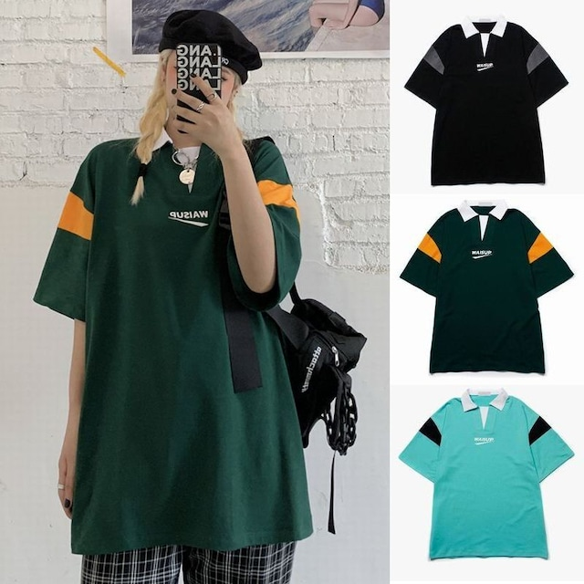 ユニセックス バイカラー ポロシャツ 半袖 オーバーサイズ 韓国ファッション メンズ レディース トップス ルーズ カジュアル ストリートファッション TBN-643113682356