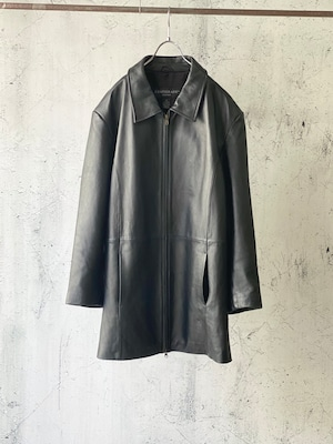 zip-up real leather coat