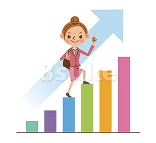 イラスト素材:上昇するグラフとビジネスウーマン(ベクター・JPG)