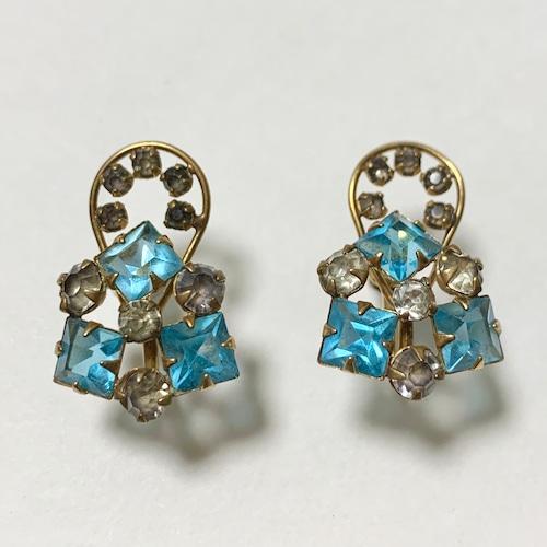 Vintage 12K GF Sax Blue Bijoux Earrings