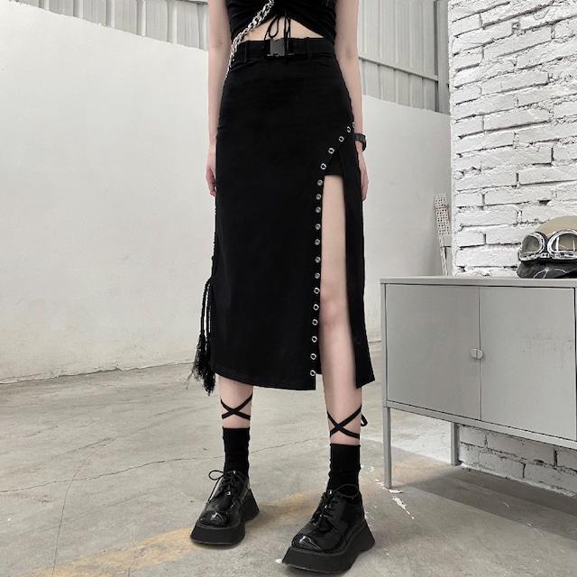 【ボトムス】個性的ストリートスリット切り替えスカート43358841