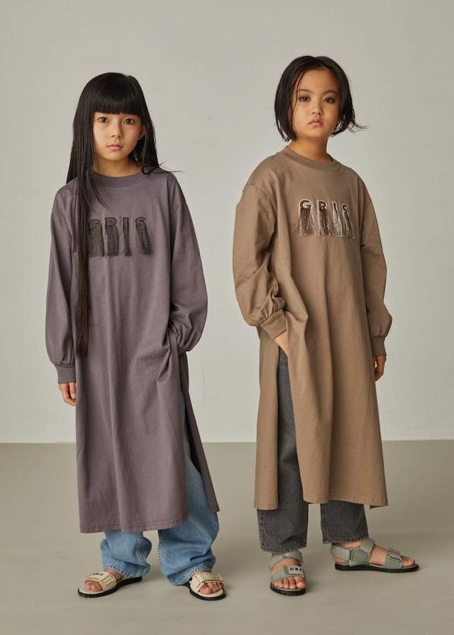 【21AW】GRIS ( グリ )Side Slit Long T Shirt[XS/S/M]Ash Brown 長袖Tシャツ