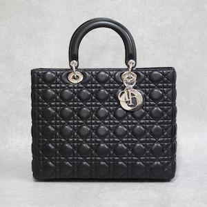 Christian Dior ディオール レディディオール 2WAYショルダーバッグ レザー ブラック
