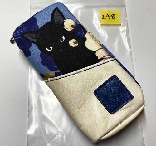 黒猫と革のL字ファスナーポーチ(青x白) [248-pt]
