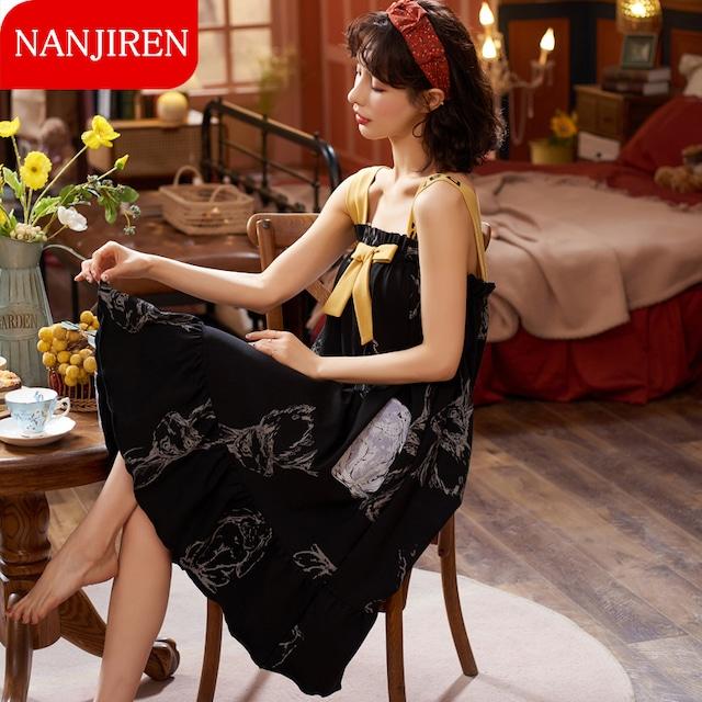 【NANJIRENシリーズ】★チャイナ風パジャマ★ つりワンピース 可愛い 部屋着 ルームウェア ブラック 黒い