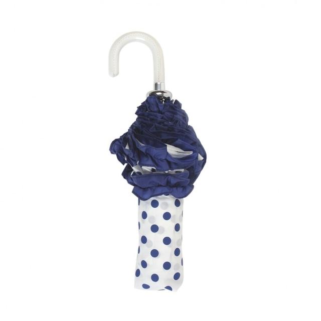 ボンベイダック コンフェティ ハンドバッグ アンブレラ(折り畳み傘) ホワイト with  ブルー スポット