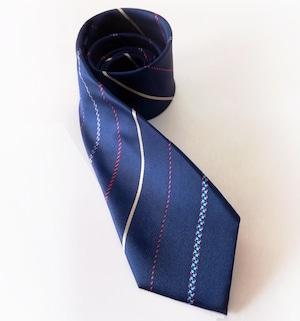 フレッシュストライプのネクタイ Navy stripe tie -0029