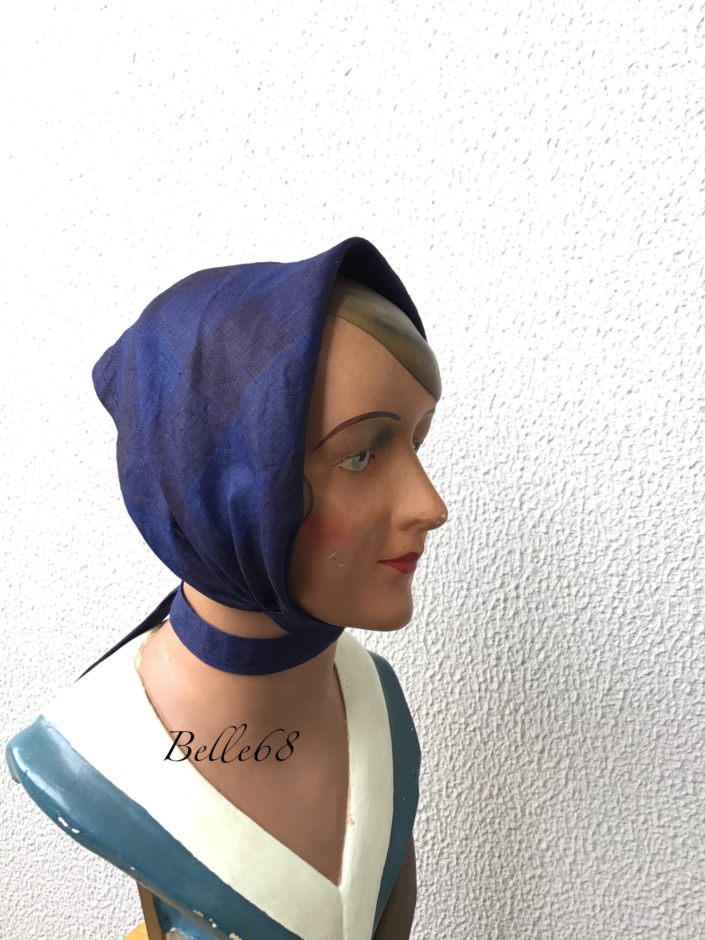 インディゴ染リネン******ブロックチェック ヘッドスカーフ
