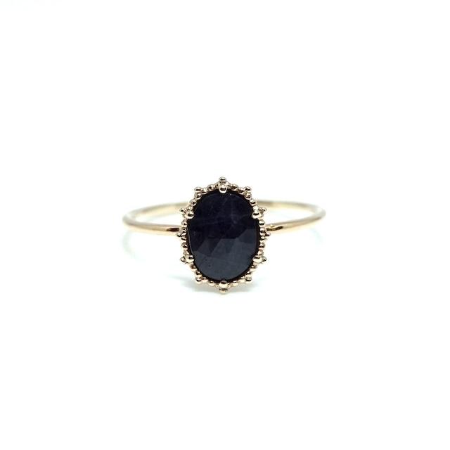 granulation 8×6 gem ring - Sapphire