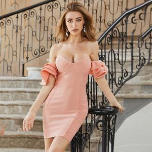 包帯ドレススカート蓮の葉スリーブチューブトップドレス2199