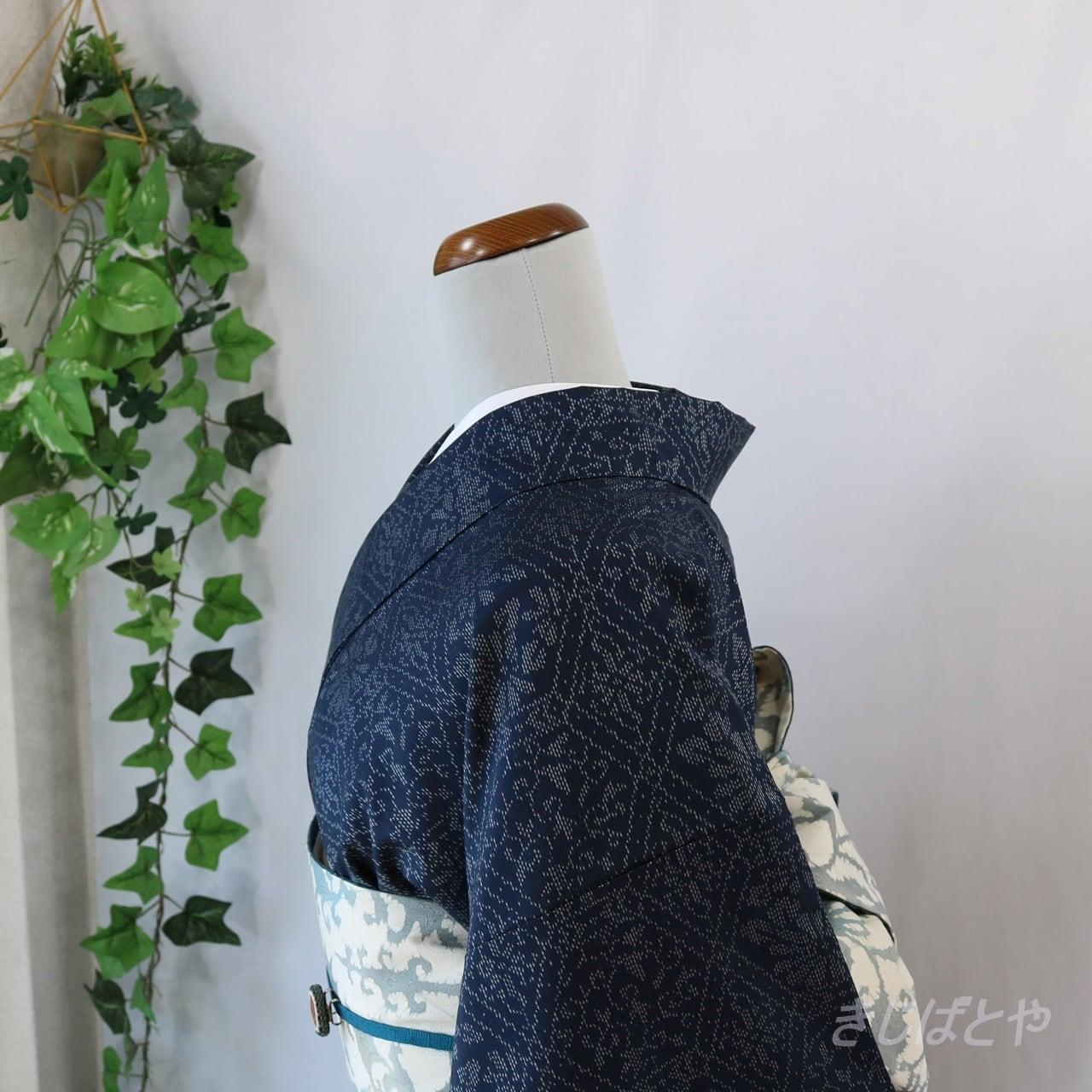 正絹紬 印度藍に白銀の織り柄小紋 袷