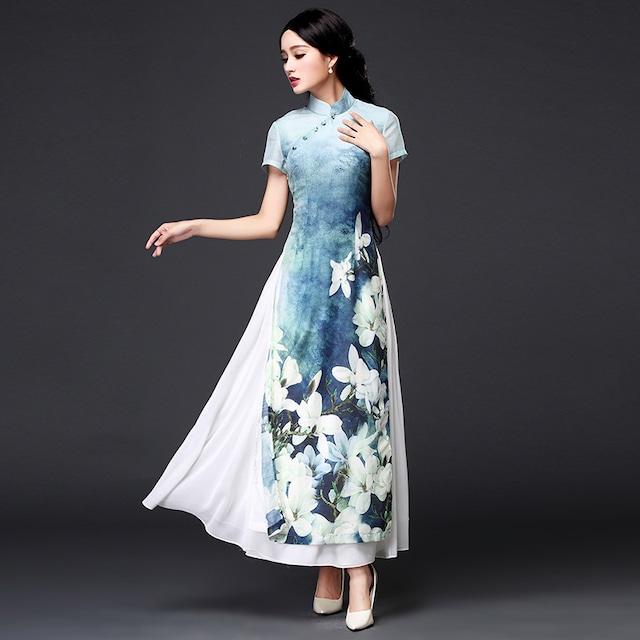 アオザイ ベトナム 民族風ドレス ロングワンピース 半袖 S M L LL 3L 4L ブルー 青い 20代 30代 40代 50代