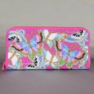 ビーズ刺繡 長財布 (#145 ピンク蝶)