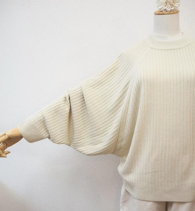 big sleeves rib knit <ivory>