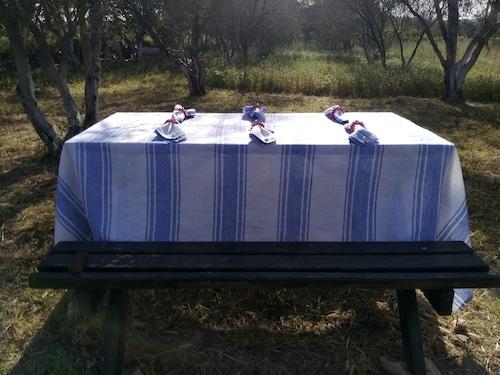 Linen100% Table Cross with Fringe CEUTA リネン100% テーブルクロスフリンジ付き セウタ