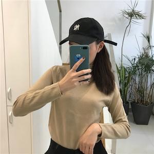 【トップス】カジュアルハイネック長袖無地セーター43009033