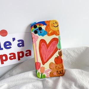 【小物 】iphone caseキュート落書き配色スマホケース42914045